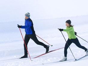 deux skieurs de fond, location point glisse Ariège