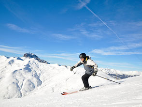 Skieur, location ski alpin point glisse