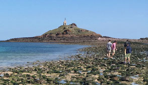 Walking to Saint Michael's island at low tide