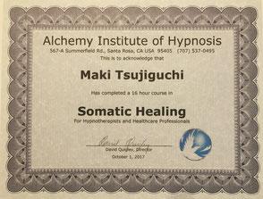 米国アルケミー催眠研究所ソマティックヒーリング修了証