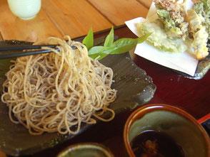 天ざる(山の幸)は1340円。山菜の天ぷらも美味