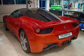Scheibentönung am Ferrarie 458 mit Tönungsfolie 65%