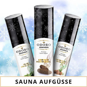 Saunaaufguss und Saunaöle von Odoro Essenzen. 100% naturreine ätherische Öl als Duftmischungen für die Sauna.