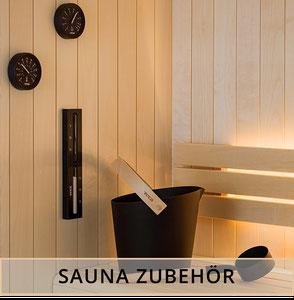 Premium Saunazubehör Kelle, Kübel, Saunaeimer, Thermometer, Hygrometer, Sanduhr, Handtuchhalter von Tylö für die Sauna.
