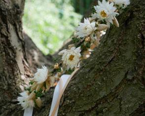 Couronne de fleurs pour la mariée. accessoire de cheveux en fleurs séchées et stabilisées, dites fleurs éternelles. Pièce unique, faite main en France. Lin doré, gypsophile, graminées et fleurs séchées Françaises.