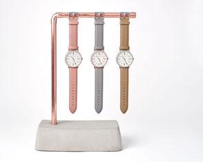 Beton Uhrenhalter für drei Armbanduhren