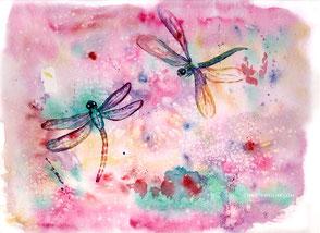 Libelle, Transformation, Aquarell, Kunst, watercolour
