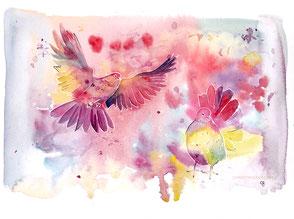 Taube, Liebe, Aquarell, Kunst, watercolour, intuitives Malen, Bayreuth