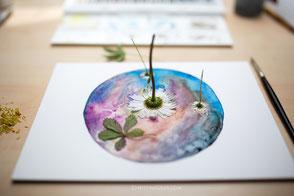 Naturkunst, Malerei, Aquarell, Blütendrucke, Christine Geier, FeenoGraphie