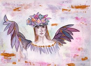 Aquarell, Kunst, watercolour, Engel, Blütenkrone
