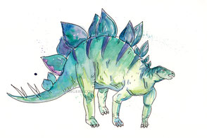 Stegosaurus, Dinosaurier, Aquarell, Illustration, Kinderzimmer
