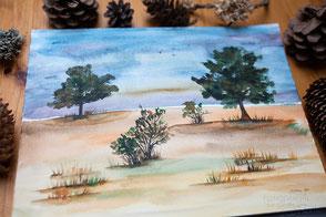 Aquarell, Bäume in Aquarell, Watercolour, Lebensbäume, keltischer Baumkreis