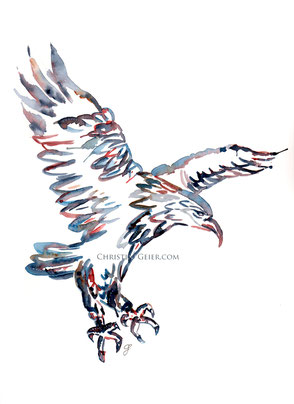 Adler, Vogel, Aquarell, watercolour, intuitive Malerei, Art, Kunst, Christine Geier, Feenographie, Aquarellmalerei, abstrakt