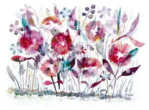Aquarell, Blüten, Kunst