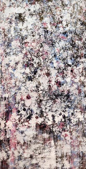 Katharina Lehmann, White Fog no.3, 109,5 x 56 cm / 43 x 22 in, 2019 · Acrylic, pencil on foil