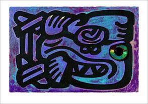 Mayasymbol gemalt blau