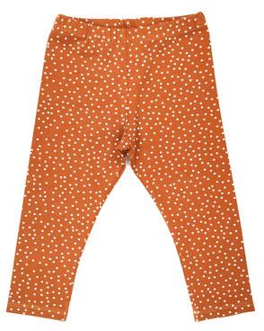 Hapitime Bio Kinder Leggings handmade karamell mit Punkten