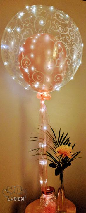 Ballon in Led Ballon gold rose mit Ballongas gefüllt