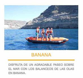 banana acuática en las palmas