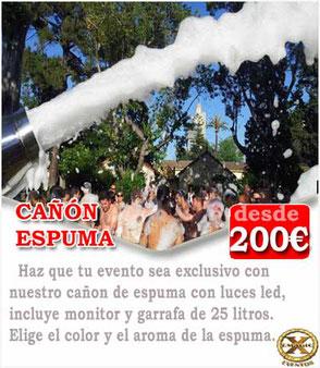 cañón de espuma para eventos en Cádiz