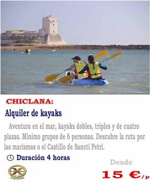 ruta en kayak por Cadiz