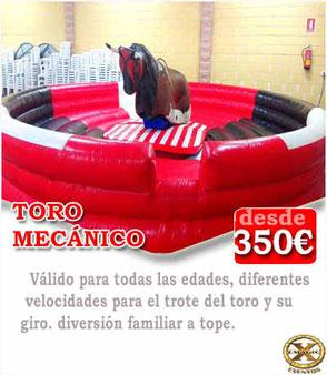 alquiler de toro mecánico en Cádiz