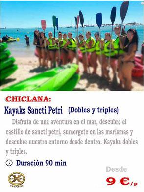 alquilar un kayak en Cadiz