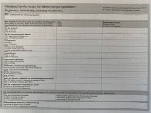 Meldescheinformular