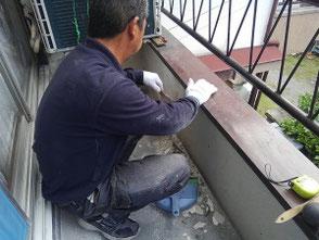 ベランダ土間からの雨漏りを修理しました。尼崎市 ベランダ防水