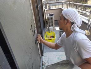 外壁が原因の雨漏りを修理しました。尼崎市