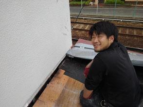 壁際の水切り板金が原因の雨漏りを修理しました。尼崎市