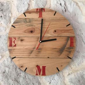 Horloge murale bois de palette Hautes-Pyrénées