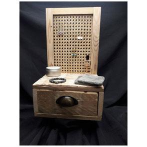 Coffre à bijoux, cosmétiques bois de palette et cannage Hautes-Pyrénées