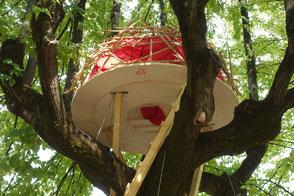 Tree House, Equalogical Lab, Ludovica Rossi, Arquitectura efimera, casa en el arból, tensegrity, madera, estructura reciprica, bamboo, Terni, Italia, Foresta, Festiva, CAOS, Salou