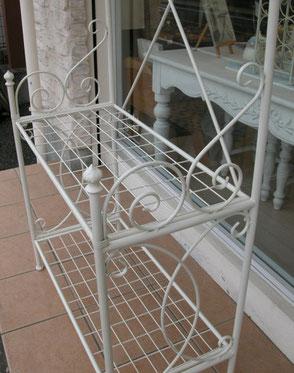 ベーカリーラック アイアンテーブル ラックハンガー 白家具 クラシック家具 アンティーク家具 パン屋