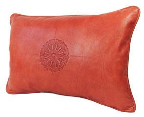 Almadih Leder Sitzkissen Weiß leather pouf white