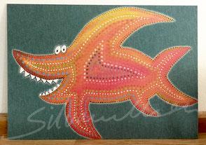 Postkarte mit Druck von Malerei, Grinsehai von silvanillion
