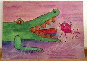 Postkarte, matt mit Illustration Krokodil und Piepmatz von silvanillion