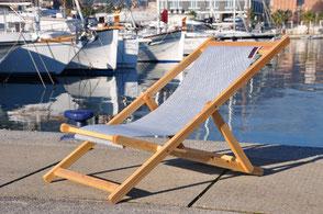 Sedia regista in tessuto da vela di legno