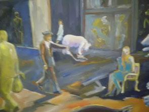 Der Bäern-Wärter, Ölbild, detail
