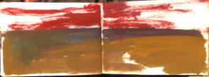Skizzenbuchseiten, Landschaft, Ocker und rot
