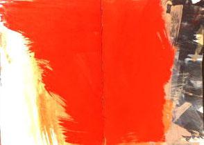 Skizzenbuchseiten,  rot übermalte Doppelseite