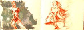 Skizzenbuchseiten, 2 Frauenskizzen mit roter Ölkreide