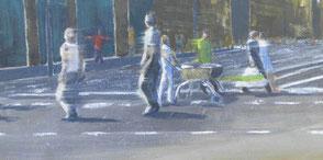 Menschen überqueren einen Zebrastreifen, 2