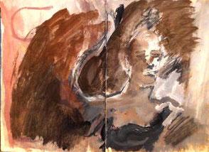 Skizzenbuchseiten, Frauengesicht in Brauntönen