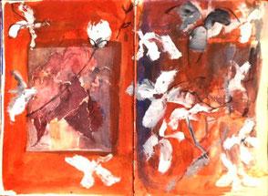 Skizzenbuchseiten, weiße Blüten auf rotem Grund