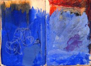 Skizzenbuchseiten, übermalt mit Blau, Zeichnung Orange