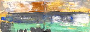 Skizzenbuchseiten,  Landschaft in Grün, Blau, Ocker