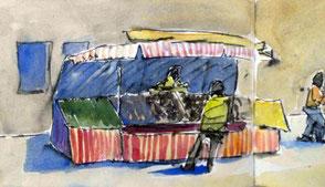 Wochenmarkt, skizze mit füller und Aquarellfarbe