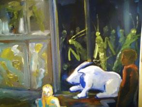 Das weiße Kanninchen und die Heuschrecken, Ölbild, Detail